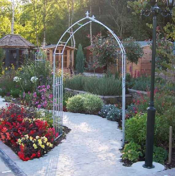 Galvanised Gothic garden arch or rose arch