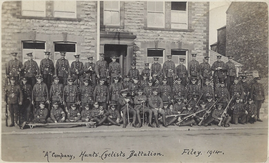 Hunts Cyclists A Company Filey 1914