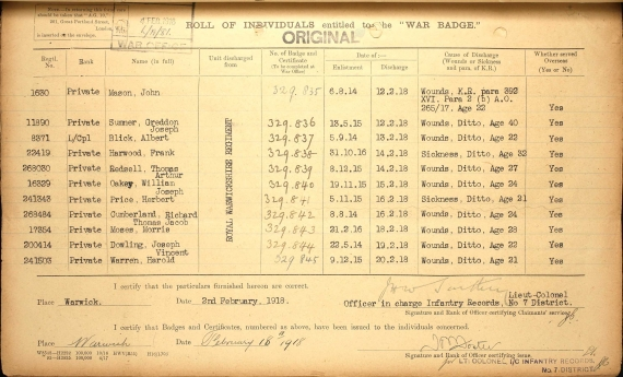 War badge record showing Grandad's discharge record
