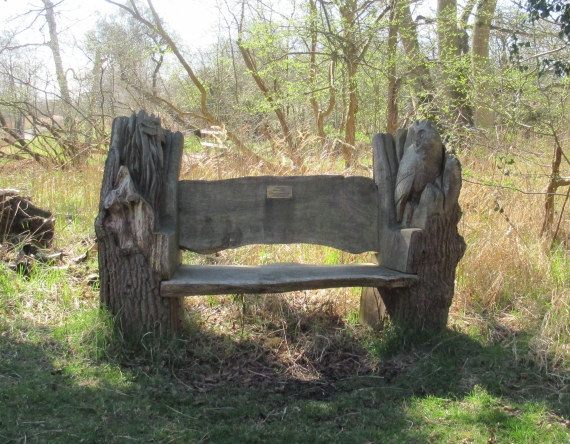 Carved Memorial Bench at Woodwalton Fen Nature Reserve