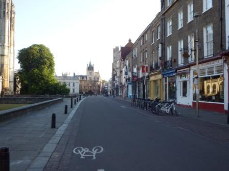 Deserted Trumpington Street looking towards Gonville and Caius College
